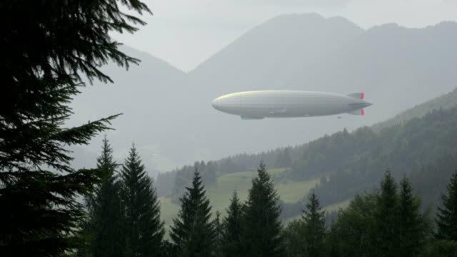 Zeppelin airship in landscape with wooden hills