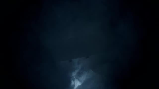 Zeppelin Flying Under Rain and Lightning Storm video