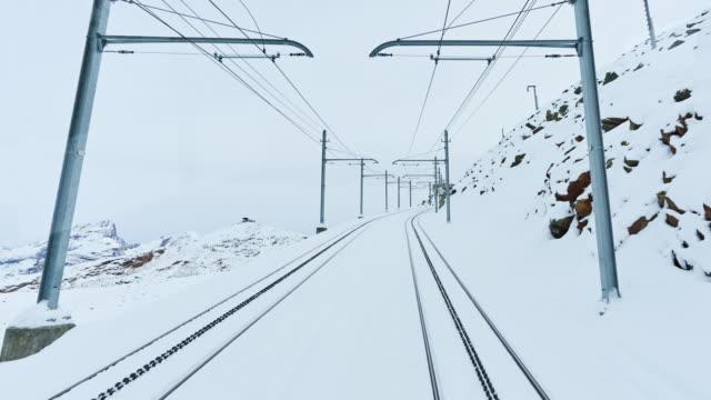4K: Zermatt to go Gornergrat Train Traffic Time Lapse, Switzerland Zermatt to go Gornergrat train traffic time lapse, Mattherhorn, Zermatt, Switzerland. railroad track stock videos & royalty-free footage