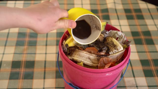 vídeos de stock e filmes b-roll de zero waste lifestyle. compost bucket - box separate life