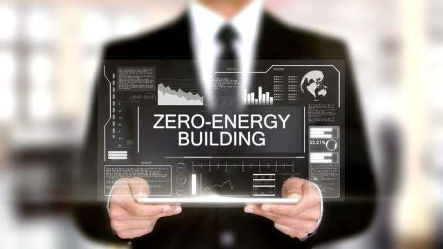 Zero-Energy Building, Businessman with Hologram concept