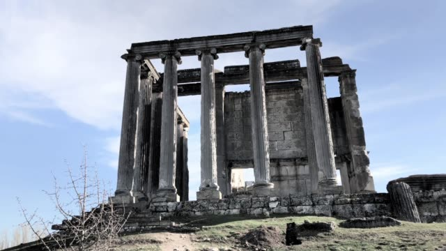zeus temple of aizonai - greek architecture stock videos & royalty-free footage