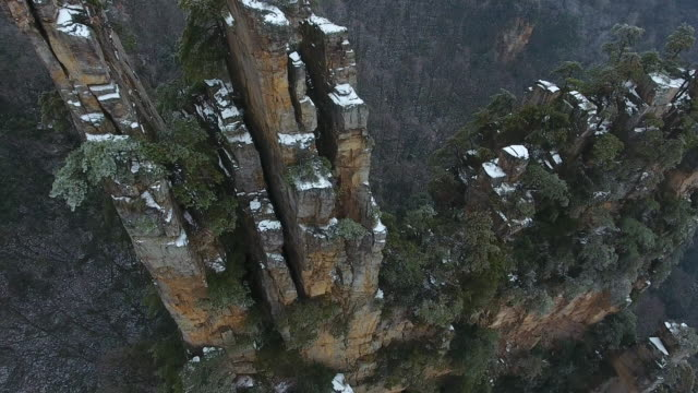Zhangjiajie winter road aerial view - video