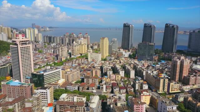 zhuhai city sunny day famous hotel construction bay aerial panorama 4k china - zhuhai video stock e b–roll