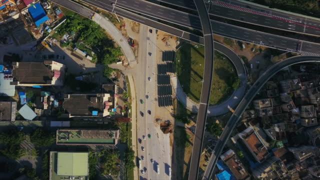 zhuhai city sunny day traffic road construction block aerial panorama 4k china - zhuhai video stock e b–roll