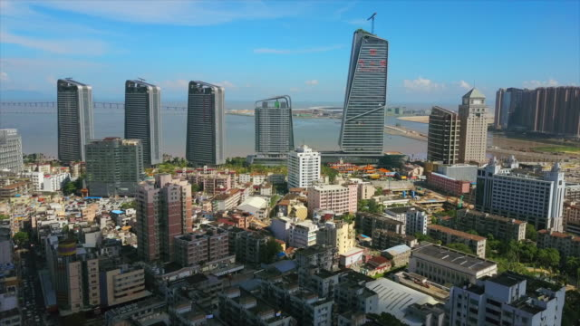 zhuhai cityscape sunny day famous hotel construction bay aerial panorama 4k china - zhuhai video stock e b–roll
