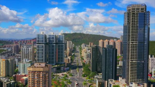 zhuhai cityscape sunny day main traffic road tunnel aerial panorama 4k china - zhuhai video stock e b–roll