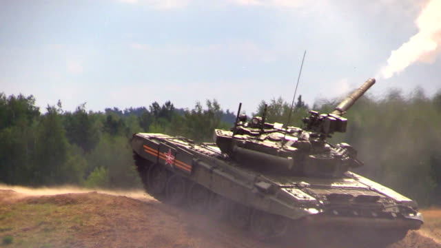 Zhukovsky. Russia. 17 aug 2014: Russian army. Tank T-90A shot on the military ground