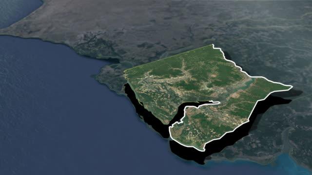 ziguinchor region - animation map - senegal video stock e b–roll