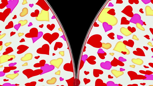Zip fastener on  material with various hearts.