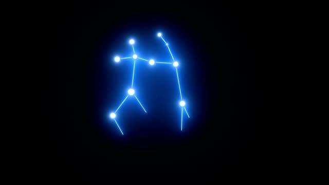 vídeos y material grabado en eventos de stock de zodiaco géminis constelación de estrellas en luz brillante - constelación