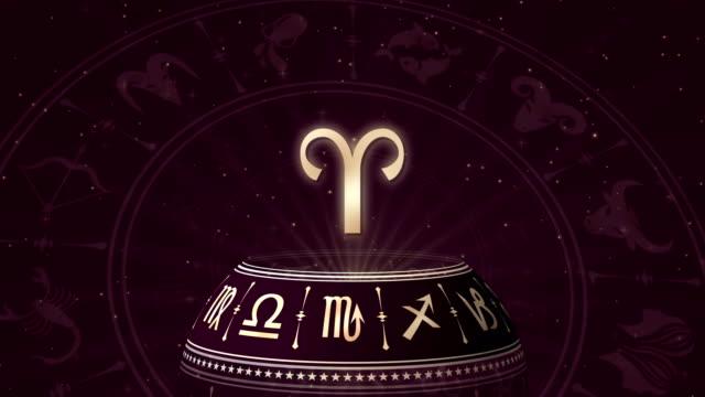 sternzeichen widder und horoskop-rad - kalender icon stock-videos und b-roll-filmmaterial