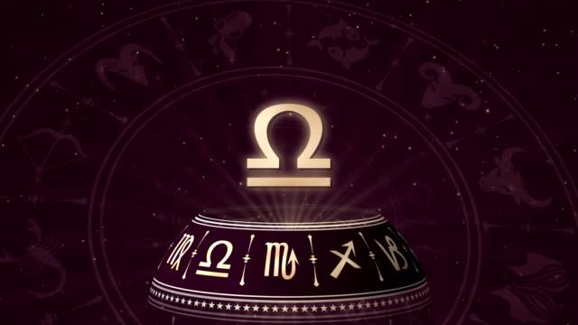 vídeos y material grabado en eventos de stock de signo del zodiaco libra y horoscopo de la rueda - espacio y astronomía