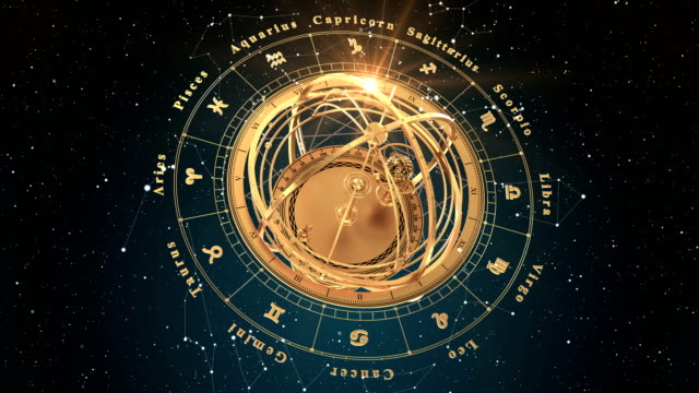 vídeos de stock e filmes b-roll de 4k. zodiac signs and armillary sphere on blue background. seamless looped. 3d animation. - astrologia