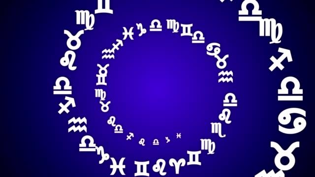 vídeos de stock e filmes b-roll de zodiac signs, horoscope, background, with alpha channel, loop - astrologia
