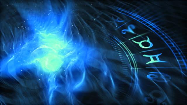 vídeos de stock e filmes b-roll de a roda do zodíaco (fresco versão - astrologia