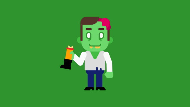 Zombie cartoon character. Congratulations on Halloween Zombie cartoon character. Congratulations on Halloween. Loop animation. Motion graphics. stamping feet stock videos & royalty-free footage