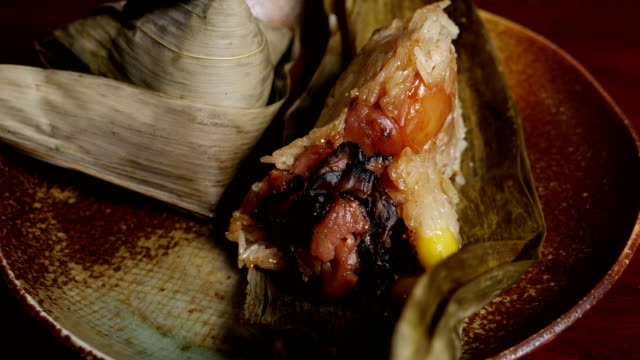'Zongzi' or 'bakcang', 'bacang' a Chinese traditional food. video