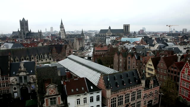 hd zoom: aerial ghent ancient town belgium - port wine stock videos & royalty-free footage