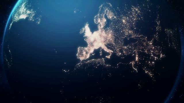 vídeos y material grabado en eventos de stock de zoom de la tierra y el posterior viaje a la noche de barcelona - efecto zoom