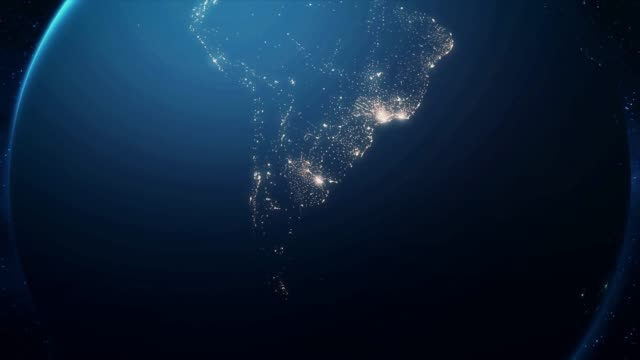 Zoom From Earth and Back Travel to Buenos Aires Night
