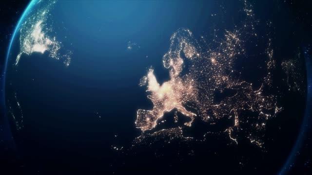 vídeos y material grabado en eventos de stock de zoom de la tierra y el posterior viaje a londres de noche - efecto zoom