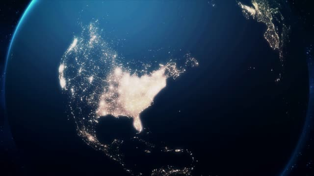 Zoom From Earth and Back Travel to New York Night