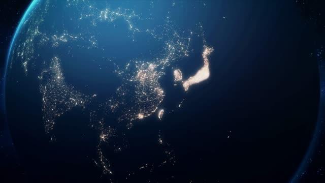 zoom från jorden och tillbaka resa till shanghai natt - zoom in bildbanksvideor och videomaterial från bakom kulisserna