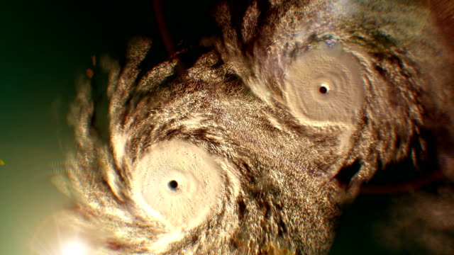 Zoom in from space to the two hurricanes, CG animation. video