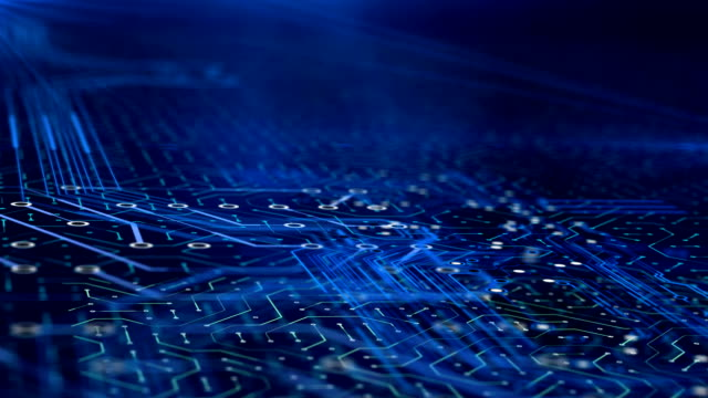 vídeos y material grabado en eventos de stock de zoom en microchip en la placa de circuito moderna tecnología nano, ordenador de trabajo - placa madre