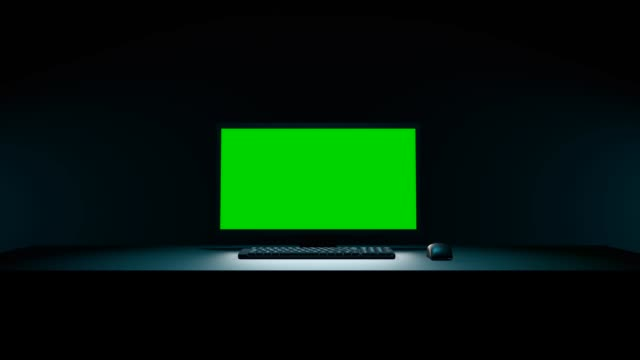zoom in on a pc with green screen. 3d animation - ingrandimento video stock e b–roll