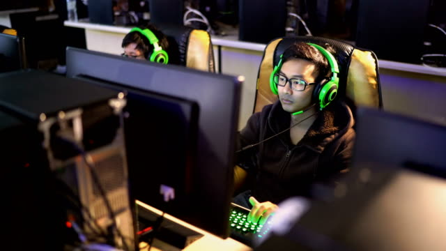 Zoom in shot of gamers who doing an competitive gaming event Zoom in shot of gamer who doing an competitive e Sport event, Chiang Mai, Thailand match sport stock videos & royalty-free footage
