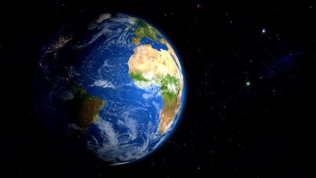 Zoom in to the slowly rotating Earth video