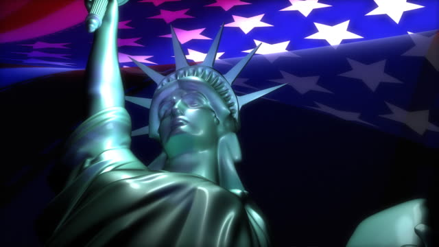 Zoom in view, Statue of Liberty and USA flag video