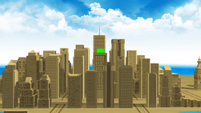 Zoom Into Billboard - 3D City Animation + Alpha video
