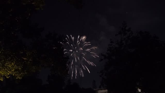 zoom into firework show over residential neighborhood This zooming video shows a late night beautiful firework show in the sky over a residential neighborhood. firework explosive material stock videos & royalty-free footage
