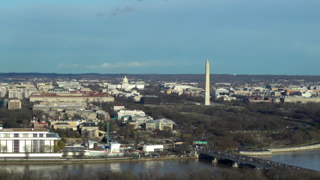 Zoom out Aerial high angle view of Washington DC National Mall with Lincoln Memorial Washington Monument and United States Capitol.