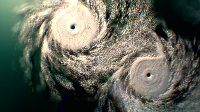 Zoom out from two hurricanes, CG animation. video