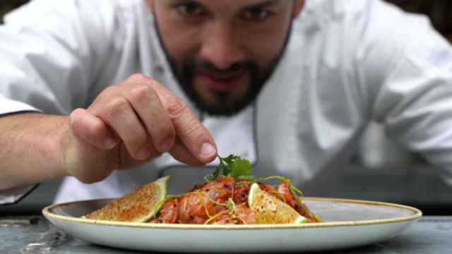 zoom out of chef decorating his plate and looking very happy - тарелки стоковые видео и кадры b-roll