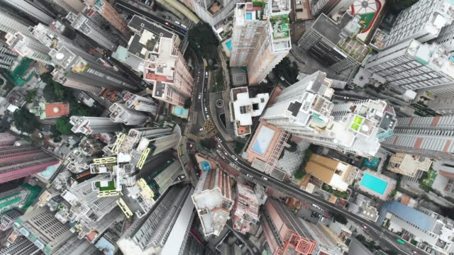 zoom out of skyscraper pattern in hong kong. - zoom out stock videos & royalty-free footage