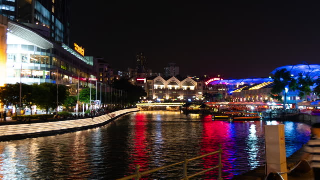 Zoom out time lapse Clarke Quay riverbank night