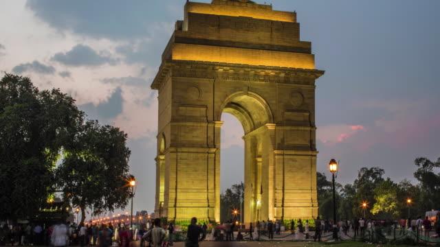 vídeos de stock, filmes e b-roll de zoom para fora laspe no índia portão - monumento