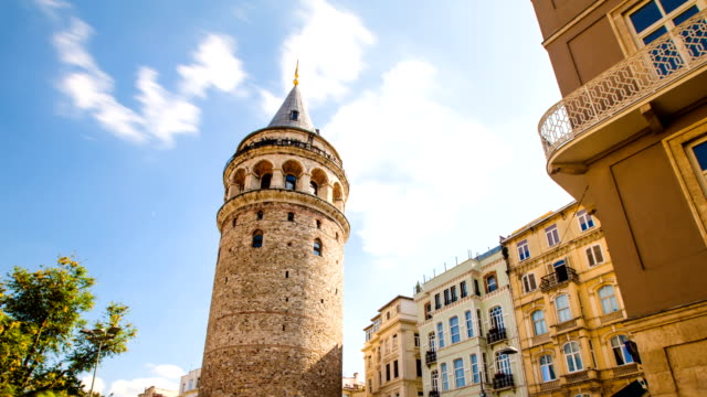 Zoom out Timelapse of famous tourist place Galata tower in Istanbul in Turkey video