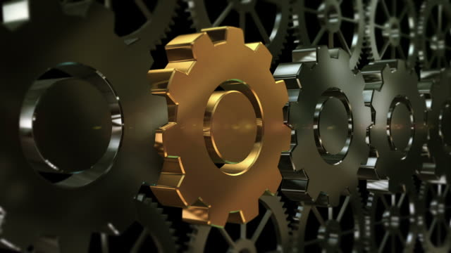 Zoom To 3D Gold Machine Gear video