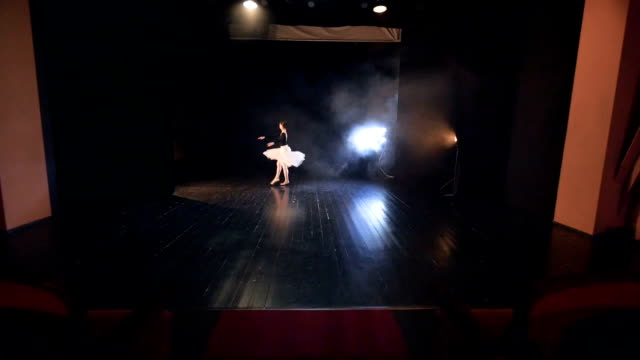 A zoomed up ballet dancer finishing up her performance with a bow. video
