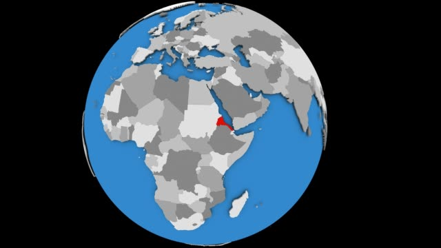 Zooming in on Eritrea on political globe Zooming on Eritrea on slowly rotating political globe. 3D animation. horn of africa stock videos & royalty-free footage