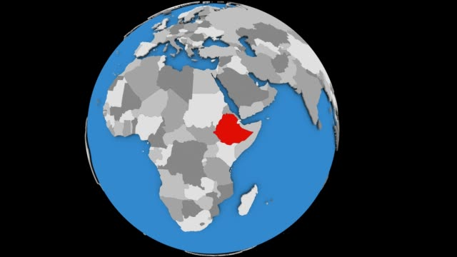 Zooming in on Ethiopia on political globe Zooming on Ethiopia on slowly rotating political globe. 3D animation. horn of africa stock videos & royalty-free footage