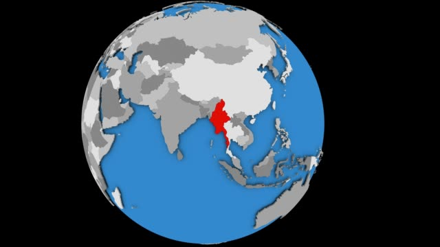 Zooming in on Myanmar on political globe Zooming on Myanmar on slowly rotating political globe. 3D animation. myanmar stock videos & royalty-free footage