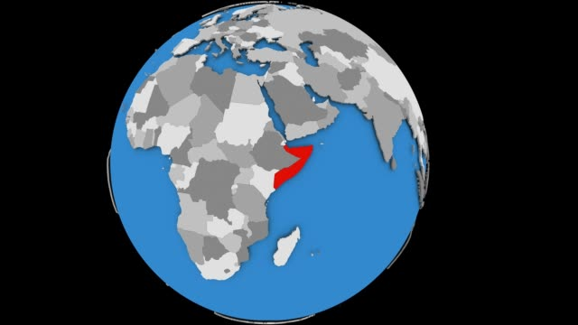 Zooming in on Somalia on political globe Zooming on Somalia on slowly rotating political globe. 3D animation. horn of africa stock videos & royalty-free footage