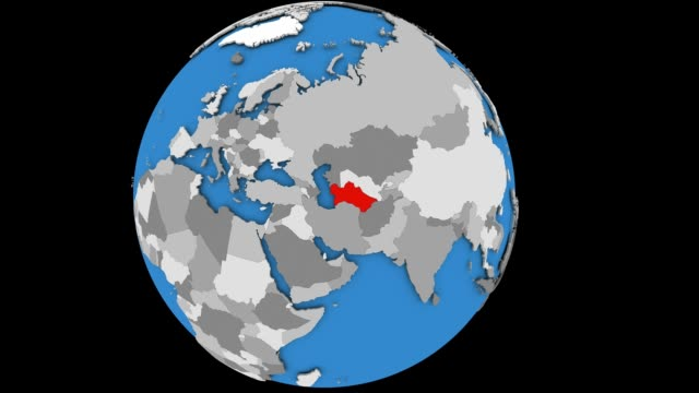 Zooming in on Turkmenistan on political globe Zooming on Turkmenistan on slowly rotating political globe. 3D animation. turkmenistan stock videos & royalty-free footage